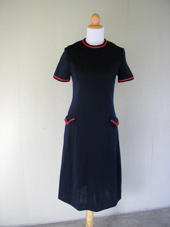 70s dress / 1970s Navy Dress / Kate Middleton Nautical navy dress