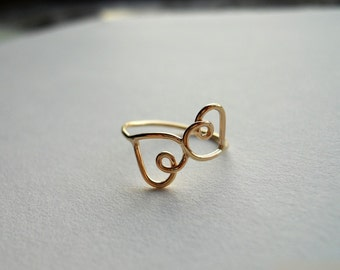 Double Heart Ring 14k Gold Filled