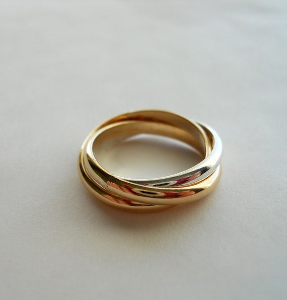 2.5mm Rolling Ring Trio 14K Gold Filled 925 Sterling Silver Mix