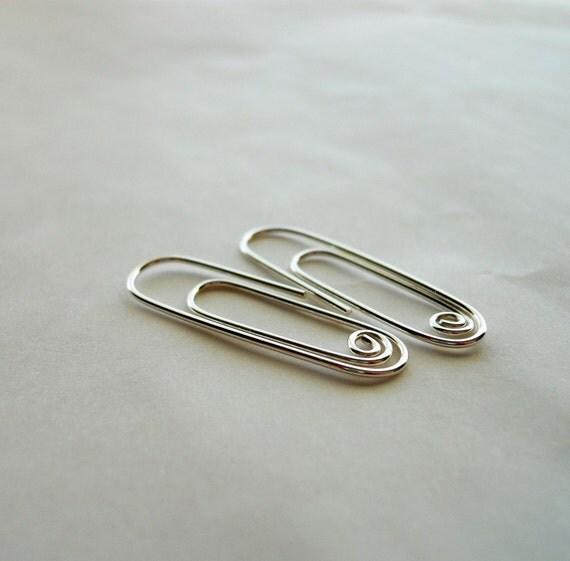 Paper Clip Earrings 925 Sterling Silver
