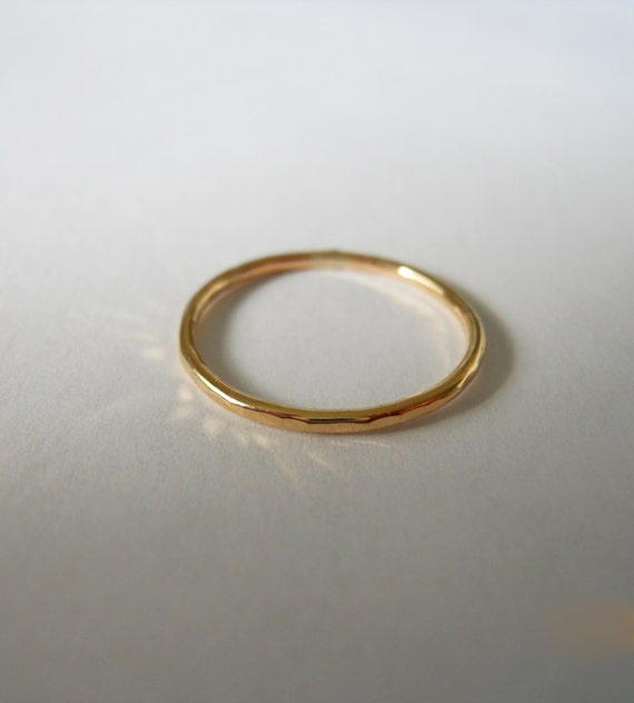 Stacking Ring Hammered, 14k Gold Filled