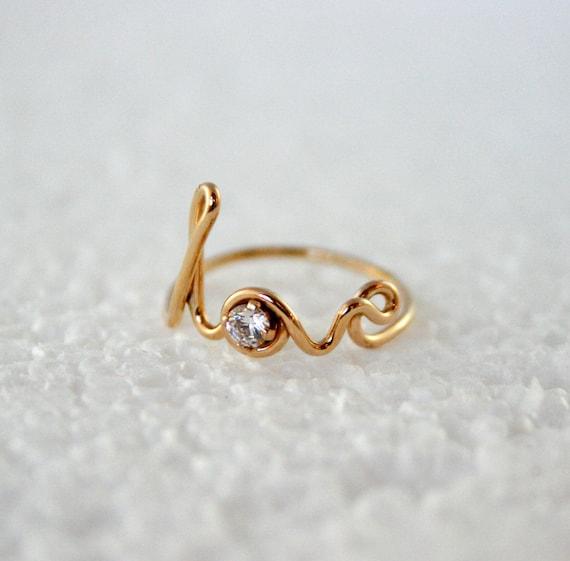 14k Gold Filled Love Ring Word Art