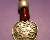 Games of Thrones - Beautiful Pewter Silver Heart with Big Red Glass Beads on Black Cord