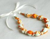 Autumn Orange Chomping/Teething Necklace- Nursing Breastfeeding Neckllace in Orange & Seafoam Green