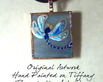 Hand Painted Blue Siver & Gold Dragonfly Glass Pendant Charm - Tiffany Art Glass - Original Artwork with Metallic Accents OOAK