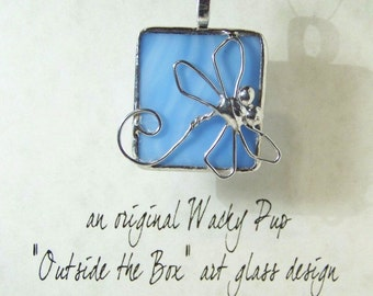 Dragonfly on Sky BlueTiffany Stained Art Glass Necklace Outside the Box Design Artisan Soldered Charm WDF20