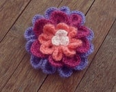 Crochet Flower Pattern, Colorful 3/4 layers PDF accessory - head piece & brooch - make for Christmas too  - Instant DOWNLOAD