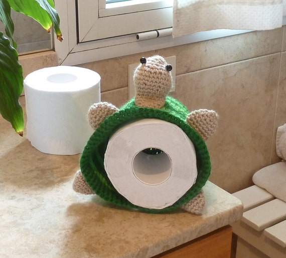 Crochet pattern Toilet Paper Cover or Hat Turtle - BATHroom deco & Beanie children accessory - Instant Download