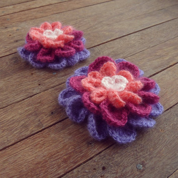 Flower Crochet Pattern Colorful 3/4 layers, girlie hair accessory or Christmas Home decor Ornament  - Instant DOWNLOAD