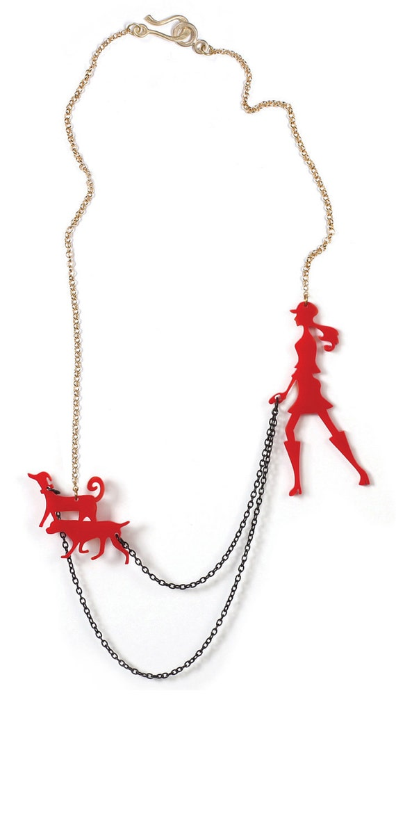 Red statement jewellery, Dog walker necklace, A walk in the park, animal lovers, Christmas gift for teen girls and women