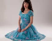Vintage 1950s Jonathan Logan Dress - Teal Floral - Summer Fashions XS