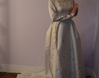Vintage 1960s Beaded Wedding Dress - Silk Chapel Train - Sleeves Bridal Fashions