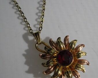 Vintage 1940s Red Wedding Necklace - Van Dell Sunburst Pendant - Bridal Fashions