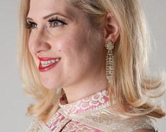 Vintage 1960s Wedding Earrings Rhinestone Golden Shoulder Duster Bridal Fashions