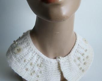 Vintage 1960s Collar Knit Wedding Necklace Beaded Angora Winter Fashions
