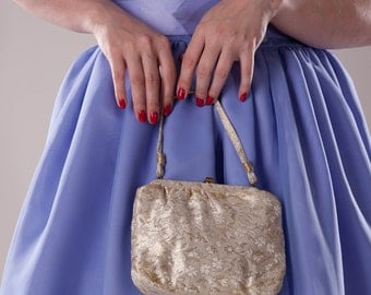 Vintage 1950s Metallic Brocade Purse Wedding Evening Bag Bridal Fashions