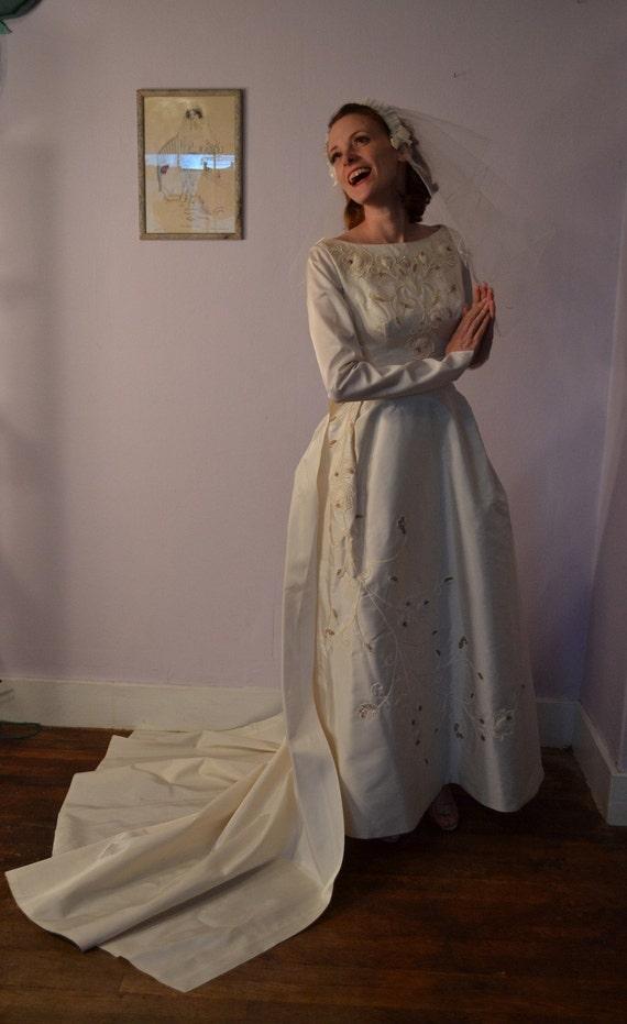 Vintage 1960s Beaded Wedding Dress - Silk Chapel Train - Sleeves Bridal Fashions