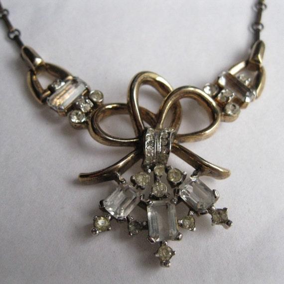 Vintage 1940s Trifari Wedding Necklace Crown Mark Rhinestone Sterling Silver 1930s
