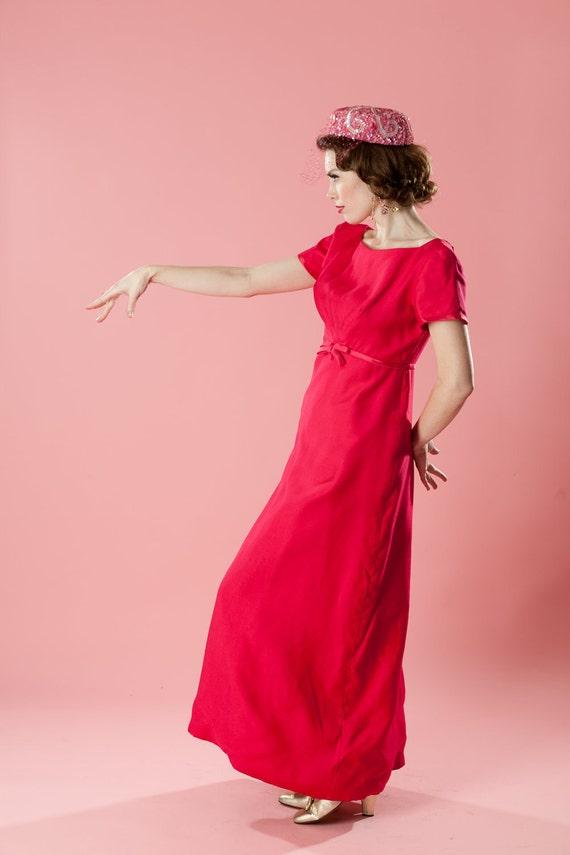 Vintage 1960s Emma Domb Dress Party Bridesmaid Shocking Pink Bridal Fashions