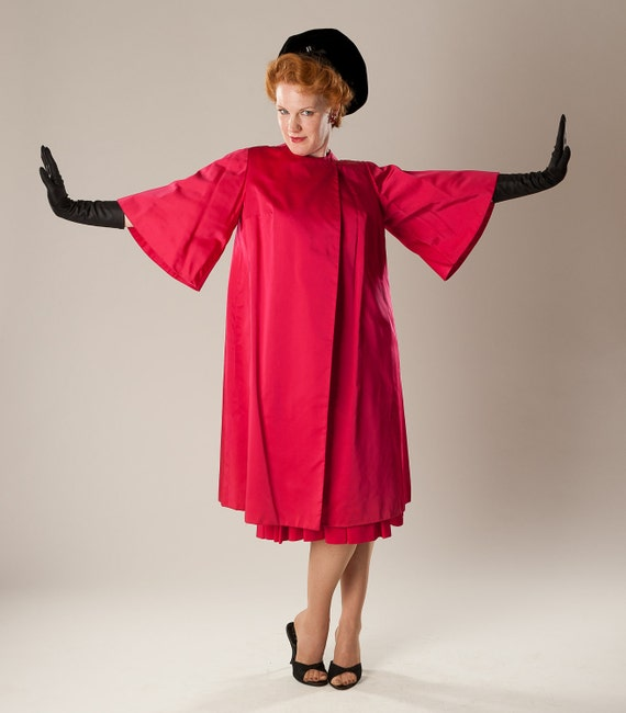 Vintage 1950s Satin Evening Coat Shocking Pink Bell Sleeves 1960s