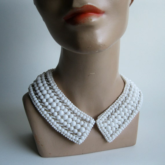Vintage 1950s Beaded Collar Milk Glass Wedding Necklace Bridal Fashions 1960s