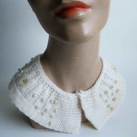 Vintage 1960s Collar Knit Wedding Necklace Beaded Angora Winter Fashions