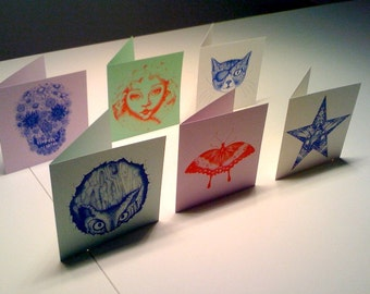Pack of 10 assorted blank geeting cards - Owl, Cat, Star, Girl, Butterfly, Flower Skull, Cosmic Bunny, Seahorse, Pop Poppy, Chick