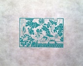 """Turquoise Green Geraniums, hand pulled linoleum block print on white mulberry printing paper 4""""x6"""" image on 9""""x12"""" paper"""