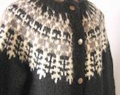 Handknit, Black, White & Gray, Icelandic  Lopi Sweater, Size Large