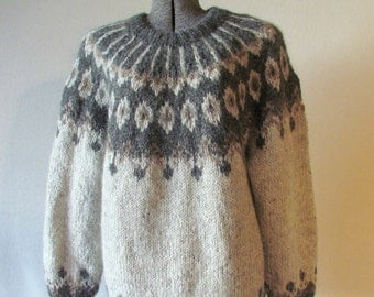 Reserved, Handknit, Rustic Shades of Gray & Brown, Icelandic  Lopi, Mens Sweater, Size: XL