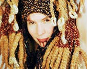 Tree of Knowledge - crochet branching earthy Brain Blanket Headdress with 81 tails