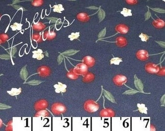 Red CHERRY Fabric & Blossoms on Navy - Cotton Quilt Craft