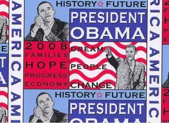 President OBAMA Fabric Patriotic USA American Flag Slogan Patchwork Fabric