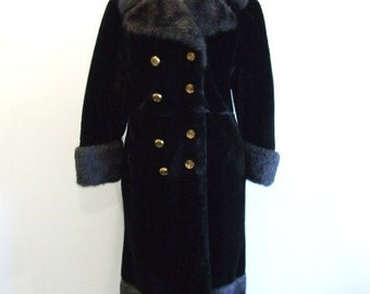 Faux Fur Coat Vintage Black Long Fur Coat - M/L
