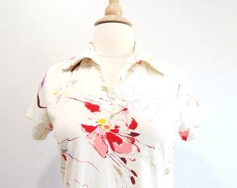 Vintage Floral Blouse Short Sleeve Collared Shirt - M
