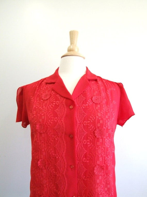 Red Embroidered Blouse Petal Sleeve Sheer Shirt - M