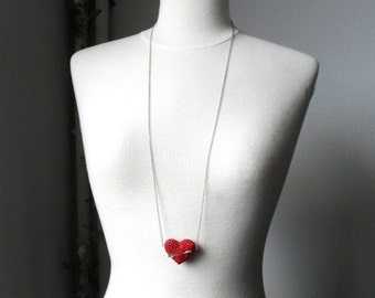 Long Necklace with crochet red heart and arrow. Wedding necklace