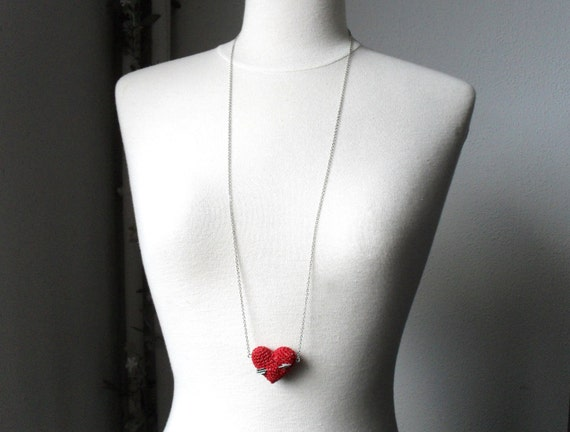 Valentines Long Necklace with crochet red heart and arrow. Wedding necklace