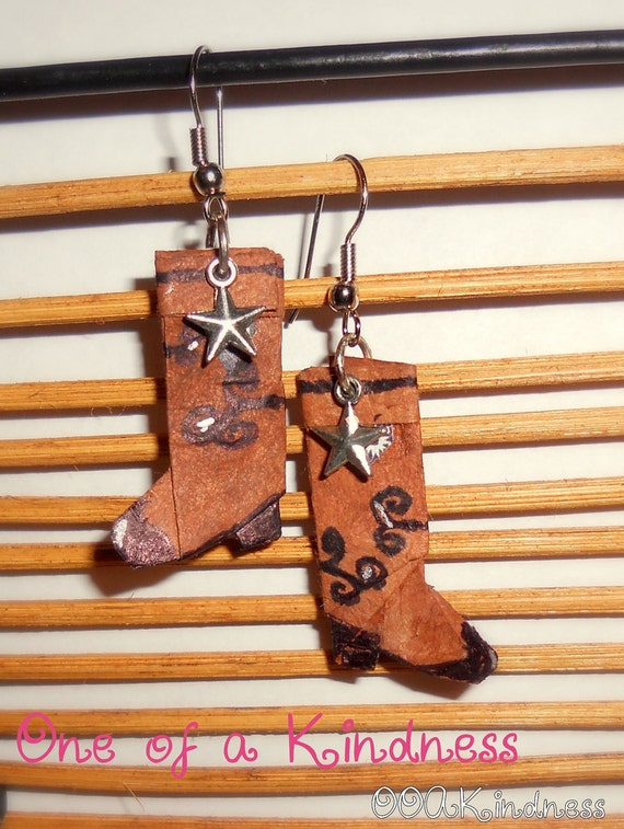 Origami Cowboy Boot Earrings with stars, cut paper & hand drawn details, silvertone star charms