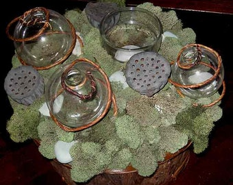 Tabletop topiary centerpiece, Zen garden w/ moss, lotus pods, tea lights, fresh flower bubble vases - instant centerpiece for any occasion