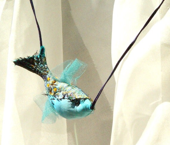 Silk pendant, fish necklace, art to wear, blue necklace, art jewelry