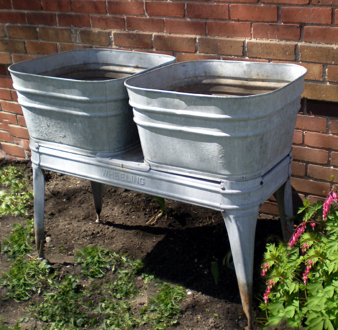 Rare Wheeling Galvanized Wash tubs double two Garden decor