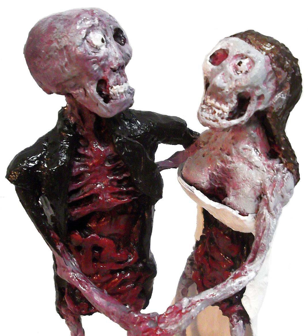 Zombie Bride & Groom Wedding Cake Topper Sculpture Statue