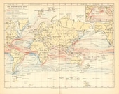 1903 Ocean Currents - Cold and Warm - with their Names eg. Gulf Stream, Californian Stream Original Antique Map