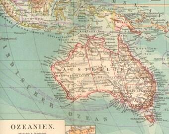 1896 Original Antique Map of Oceania or Oceanica, the Pacific Ocean, Australia and New Zealand