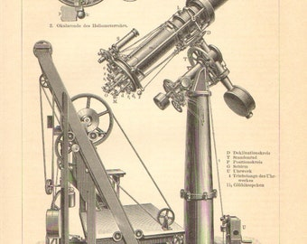 1895 Heliometer, Royal Observatory at the Cape of Good Hope Orignal Antique Engraving