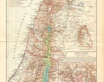 1896 Original Antique Map of Palestine and Jerusalem at the End of the 19th Century
