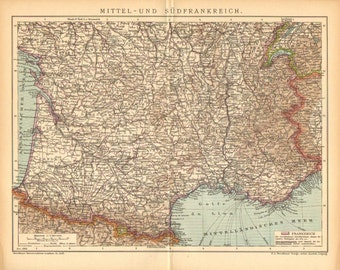 1905 Original Antique Dated Map of the Southern Part of France