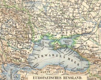 1903 Original Antique Map of the European part of the Russian Empire