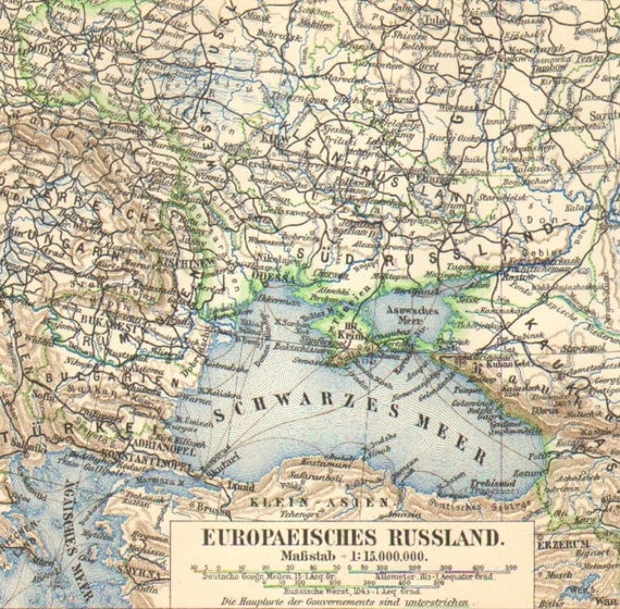 1903 Original Antique Map of the European part of the Russian Empire
